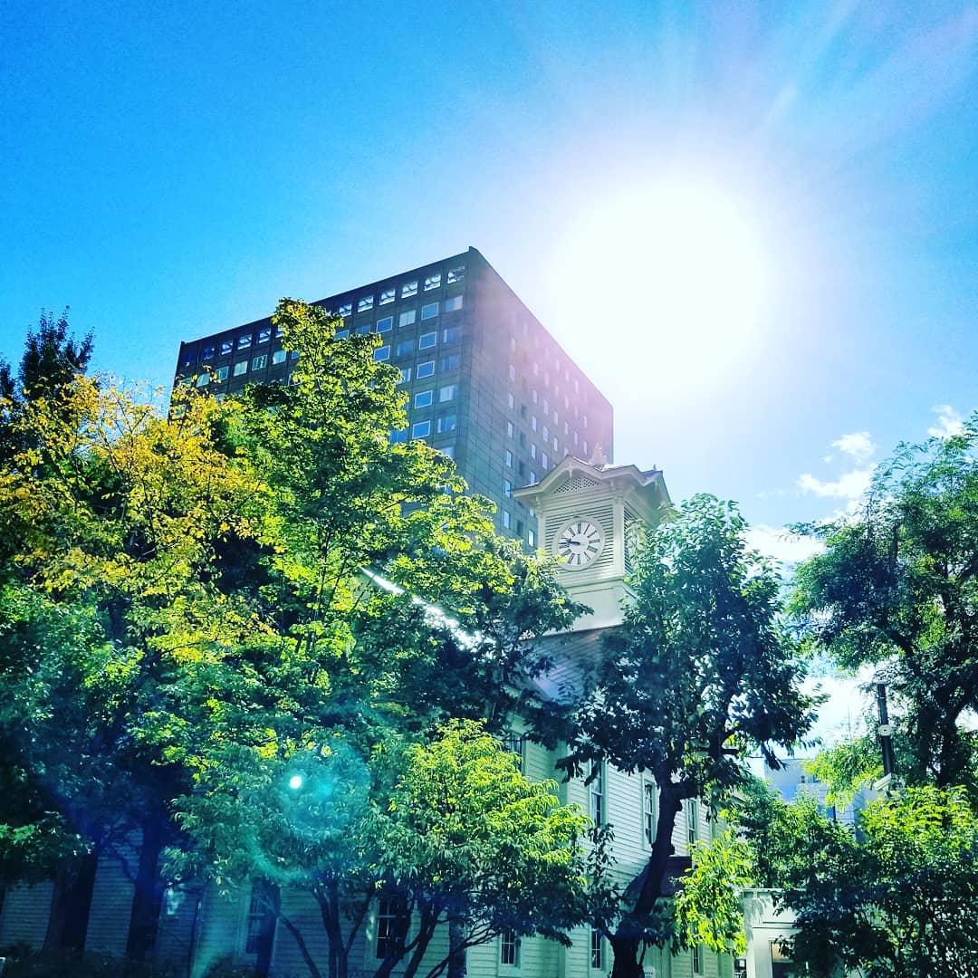 アロマセラピー学会にて札幌出張。台風一過、爽やかな秋晴れに誘われ早起きして、時計台まで散策。